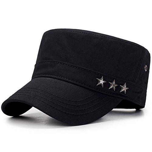 ChezAbbey Unisex Solid Brim Flat Top Cadet Caps Adjustable Snapback Corps Military Stylish Flat Top Hats Black