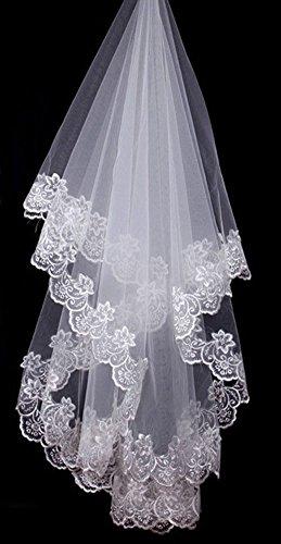 élégante broderie de dentelle de mariage voile de mariée, blanc / 1,5 mètre