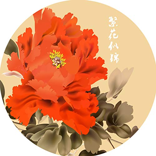 XQAQX Moquettes Tapis et sous-Tapis Tapis Rond Style Chinois Impression 3D Tapis Table Basse Salon Chambre Maison Tapis Chinois Anti-dérapant Carpets Rugs (Couleur : B, Taille : 60 cm)