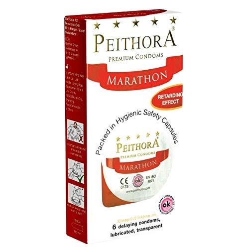 Peithora Marathon 6 aktverlängernde Kondome aus der Schweiz, hygienisch verpackt in Döschen, Top-Qualität