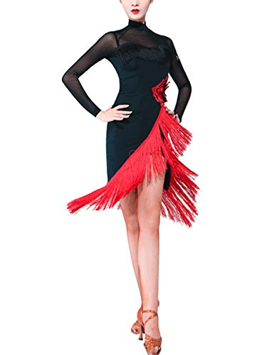 SPDYCESS Damen Tanzkleid Elegante Latein Kleid Lange Ärmel - Tango Rumba ChaCha Kostüm Wettbewerb Ballsaal Quaste Tanzkleidung Karneval Performance Abendkleid