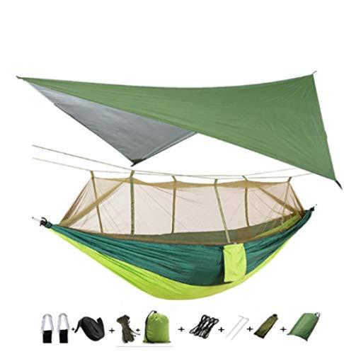 BGPOM Hammock Amaca da campeggio/Giardino Con zanzariera per esterni 1-2 Persone Letto appeso portatile Tessuto paracadute Altalena-amaca e telo