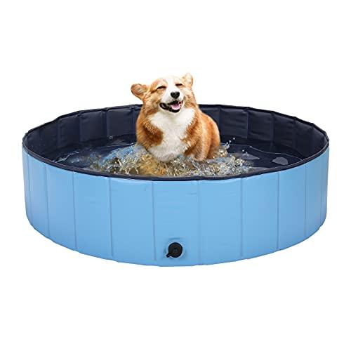 HAPPY HACHI Piscina para Perros Medianos Plegable Bañera Gato Rigida 100x30 cm