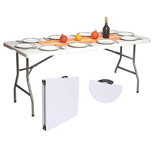TRUTZHOLM Bufettisch Tisch Bierzelttisch Klapptisch Weiß 180x75 cm klappbar Campingtisch Partytisch 8 Personen mit Tragegriff