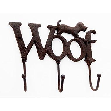 Comfy Hour 6  Cast Iron Dog Woof Triple Key Hooks Key Chain Wall Hanger