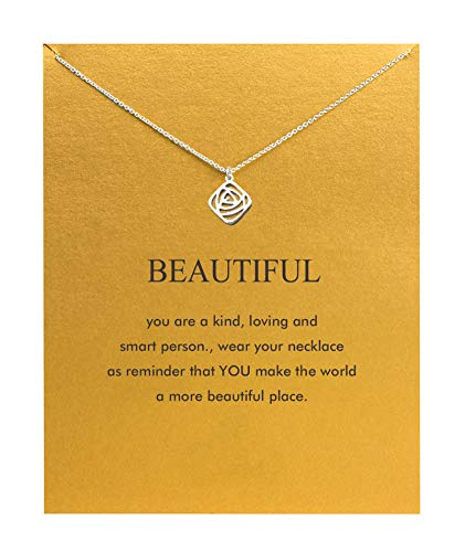 Hundred River Friendship Anchor Compass Necklace Good Luck Elephant Pendant Chain Necklace with Message Card Gift Card (Roses)