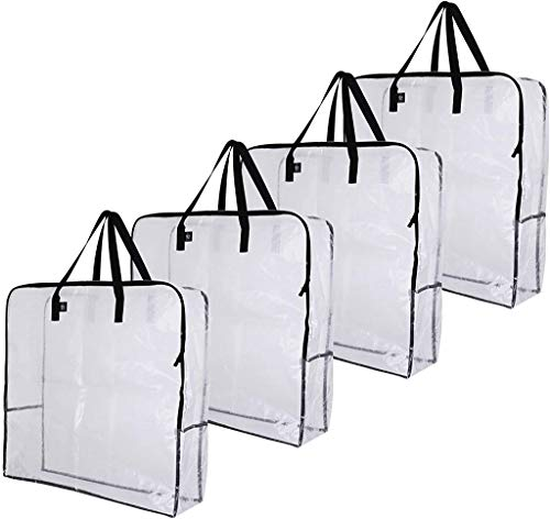 VENO Over-Sized Clear Storage Bag W/ Strong Handles and Zippers for College Carrying, Moving, Christmas Decorations Storage, Under the Bed Storage, Garage Organizer, Made of Recycled Material (4-Pack)