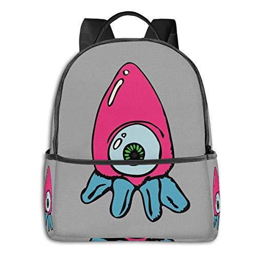 Kawaii - Mochila escolar con calamar rosa y azul