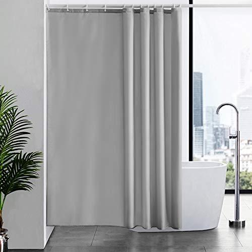 Furlinic Duschvorhang 180x200 Anti-schimmel Wasserdicht & Waschbar, Badvorhang in Badezimmer für Badewanne & Dusche, Textile aus Stoff Grau mit 12 Duschvorhangringe.