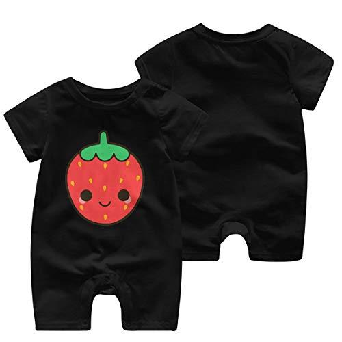 Strawberry Cute Girls Boy Body pour bébé Barboteuse à Manches Courtes pour bébé(2T,Noir)