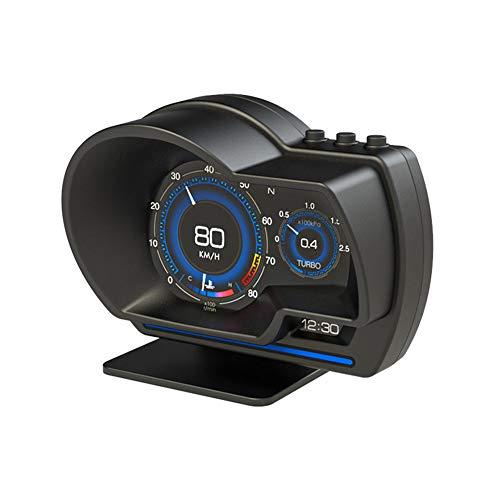 Medidor Turbo Coche Digital, HUD OBD+GPS Sistema Dual,Velocímetro Inteligente Coche,Reloj Temperatura Agua Coche,Velocímetro Coche OBD escáner Digital, Medidor Velocidad, Medidor Voltaje de Coche