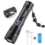Lampe Torche USB Rechargeable 26650 Batterie, 2500 Lumens Lampe de Poche Zoom Télescopique, Lampe de Poche Militaire Ultra Puissante 500m, Torche Étanche D'urgence, XHP50 LED, 5 Modes Réglables