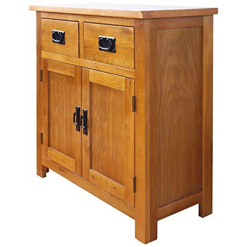 Oak Small Sideboard/2 Door 2 Drawer Mini Sideboard/Living Room Storage (Rustic) …