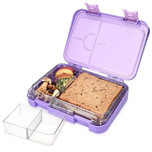 Navaris Bento Box Lunchbox Brotdose Vesperbox - auslaufsicher mit variablen Fächern - herausnehmbare Innenschale - für Jungs und Mädchen - pink