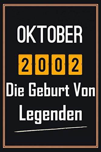 Oktober 2002 Die Geburt von Legenden: 18. geburtstag geschenk jungs mädchen, geschenkideen für 18 jährige Bruder Schwester Freund - Notizbuch a5 liniert