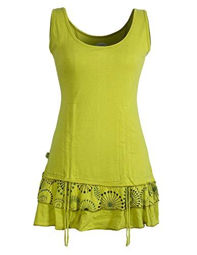 Vishes - Alternative Bekleidung - Damen Lagen-Look Jersey-Tunika Shirt aus Baumwolle zum Raffen hellgrün 50