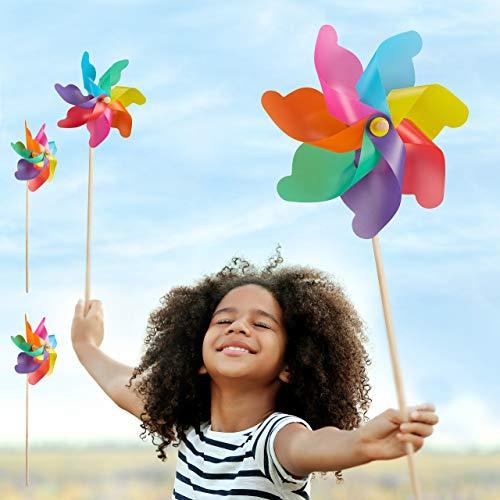 Relaxdays Juego de 4 Molinillos de Viento Arcoíris para Jardín, Terraza y Niños, Polipropileno y Madera, Multicolor