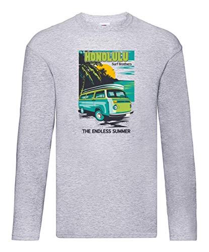 Camiseta de manga larga – Sombrilla de verano Van Meer – Camiseta de manga larga unisex para niños y niñas gris 116 cm