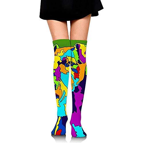 Be-ryl Farbe Schlitten Hund Frauen über dem Knie Hohe Strümpfe 60 cm Punkt Volldruck Lange Röhrensocken