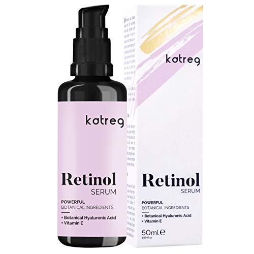 KATREG PREMIUM Siero viso al retinolo con acido ialuronico e vitamina E, MSM. Anti Aging per rughe, linee sottili e pelle sensibile, idrata e illumina il tuo look Vegan Bottiglia di vetro viola 50 ml