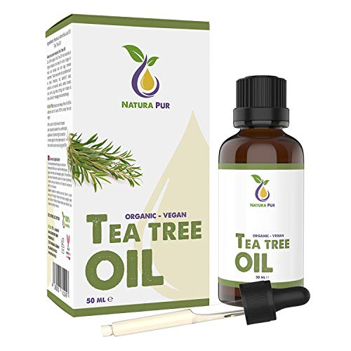 NATURA PUR Aceite Esencial de Árbol de Te 50ml - 100% organico y puro para cara y cuerpo - Tea Tree Oil para Tratamientos de Acne y Piel Grasa