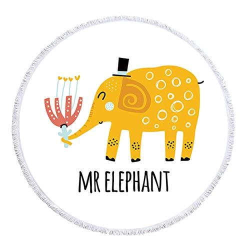 GermYan Toallas de baño de Animales Lindos Impresos Toallas de Playa de Microfibra Redondas para la decoración del hogar de la Sala de Estar Elefante