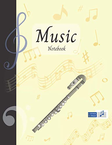 Music Notebook With Instrument - Curved Flute | Basic 12 Staves Interior: Music Manuscript Paper | Composition Book | Notebook for Musicians | Staff Paper | Stave Paper (Music Notebooks)