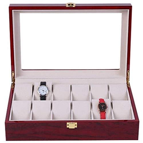 ANZRY Caja de Almacenamiento de Reloj Vitrina de Joyería para Hombre Caja de Almacenamiento de Reloj Caja de Reloj con Organizador de Pantalla de Reloj de 12 Rejillas