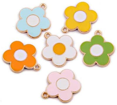 JJGrace 60 Pieces Colorful Flower Pendant Charms 6 Colors Enamel Flower Pendant Jewelry Making product image