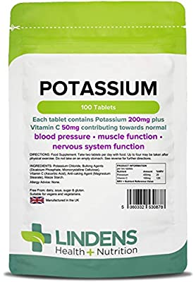 Lindens Potassium 200mg Tablets | 100 Pack | with 50mg Vitamin C Per Tablet and Contributing Towards Normal Blood Pressure, Muscle Function and Nervous System Function