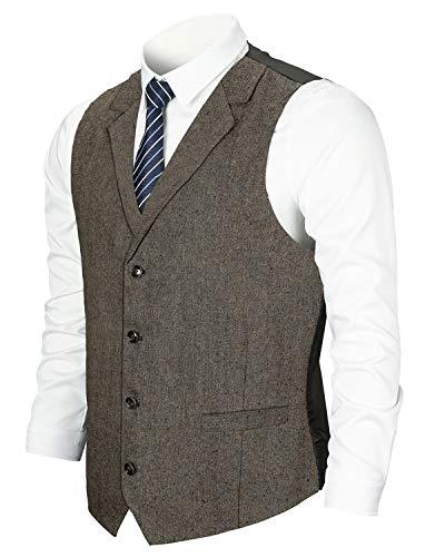 YCUEUST Chaleco Hombre Casual Clásico Tweed Traje de Negocios Banquete Ceremonia Boda Waistcoat Marrón 1 Large