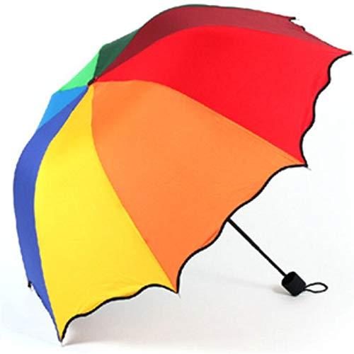 NOLOGO Ashy-wlj Paraguas Plegable Lluvia de Las Mujeres de Moda del Arco Iris Recta Paraguas de la Lluvia Grande a Prueba de Viento UV Paraguas Lluvia parapluie Flexible Femme BL2 (Color : Multi)