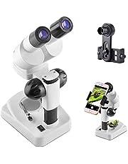 Solomark Microscopio estéreo binocular, WF10x y WF20x, aumento 20X-40X, alcance 3D de Science Lab con adaptador de smartphone para niños, estudiantes, principiantes
