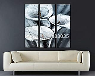 DIU Hand Painted 3 Piece Abstract Flower Canvas Wall Art Oil Paintings Set Modern Decoration Home Pictures