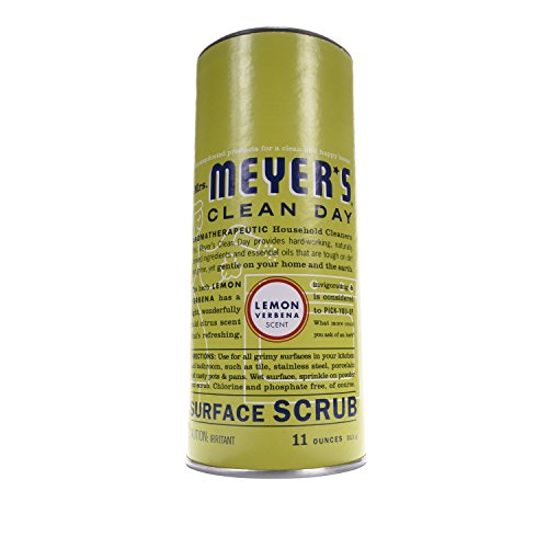 Mrs. Meyer's Clean Day Surface Scrub, Removes grime on Kitchen and Bathroom Surfaces, Non Scratching Powder, Lemon Verbena, 11 oz