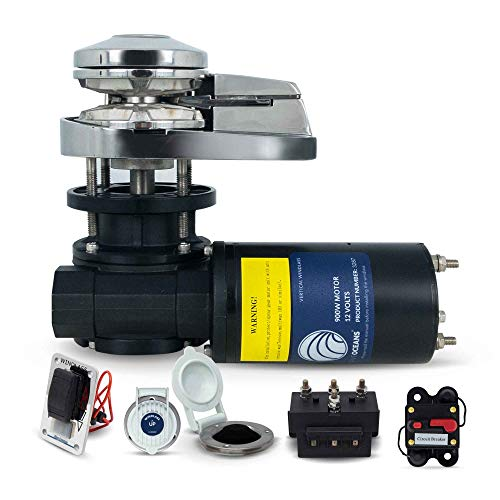 Five Oceans Pacific 900 Vertical Anchor Windlass 900W/1450 lbs, 1/4 inches HT-G4 Chain and 1/2 inches Rope FO-3287-2