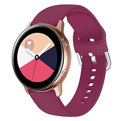 Ankersaila Correa Banda de Silicona Compatible para Garmin Vivoactive 3/Galaxy Watch Active 40mm/Galaxy Watch Active 2/Galaxy Watch 42mm/Gear S2 Classic (Vino Rojo, S)