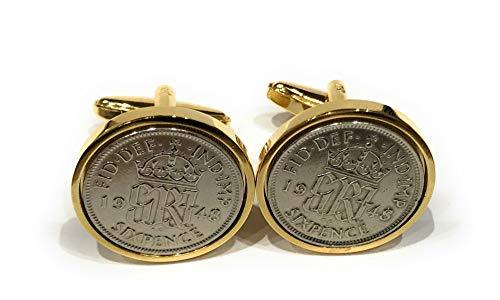 Premium 1945 Lucky sixpence cufflinks for a 75th Birthday cufflinks