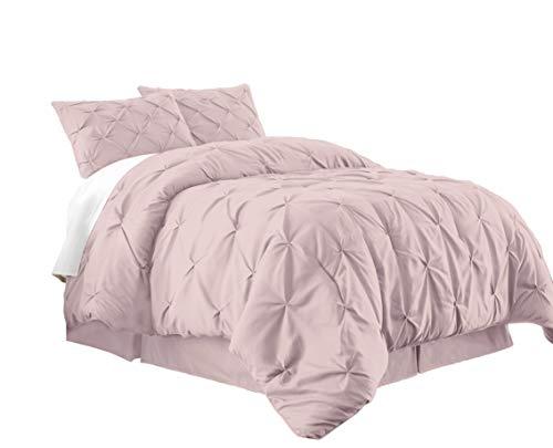 Berlin 3-Piece Pintuck Pinch Pleat Bedding Comforter Set (Queen, Pink)