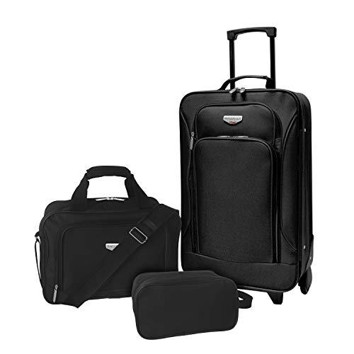 Travelers Club Luggage 3 Piece Set, Black