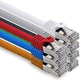Cable de red Cat. 7, cable de conexión Ethernet, cable de red CAT.7, S-FTP, PIMF, LSZH, compatible con CAT5e, CAT5, CAT6, CAT8, 10 Gb 7 colores, 7 unidades. 5 m