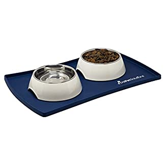 AllPetSolutions Dog Puppy Cat Food Bowl Silicone Mat Non Slip Washable Placemat (M, Navy) 15