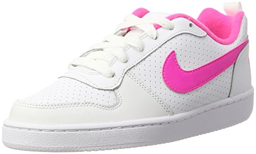 Nike Court Borough Low (GS), basketbalschoenen voor dames, wit (white/pink blast 100), 37,5 EU
