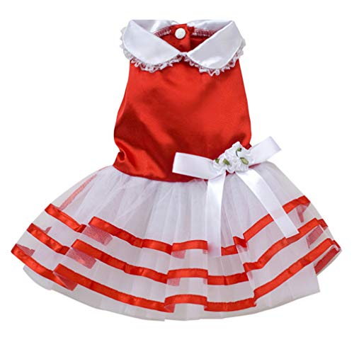 YOTATO Summer Lace Sailor Dog Dress Tutu Dresses Stripes Skirt Pet Princess Clothing