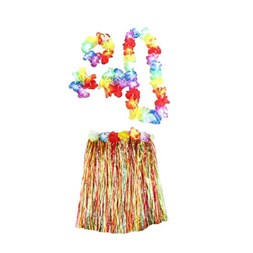 pu ran 5Pcs Adult Hula Show Grass Skirt Garland Wristband Hawaiian Party Dress Decor - Colorful 60cm