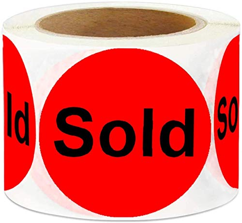 """Round Stickers 500/Roll - 2"""" Red Sticker Labels - Inventory Control Retail Stickers"""