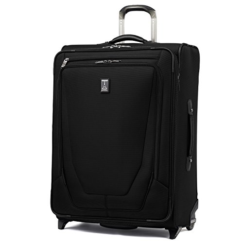 Travelpro Crew 11-Softside Expandable Rollaboard Upright Luggage, Black, Checked-Medium 26-Inch