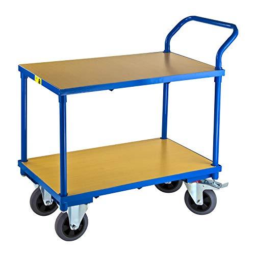 ADB Transportwagen Etagenwagen Rollwagen Materialwagen mit 2 Etagen Tischwagen Kommisionierwagen Vollgummireifen, Traglast 400kg