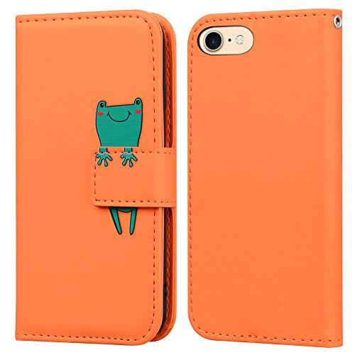 Ailisi iPhone 7/iPhone 8/iPhone SE 2020 (4,7 Zoll) Hülle, Karikatur Grün Frog Muster PU Leder Handyhülle Brieftasche Schutzhülle Klapphüllen Tasche Etui mit Kartenfächern -Frosch, Orange