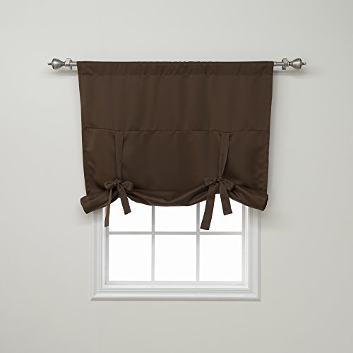 """Best Home Fashion Closeout Premium Thermal Insulated Blackout Tie-Up Window Shade - Rod Pocket - Chocolate - 42"""" W x 63"""" L - (1 Panel)"""